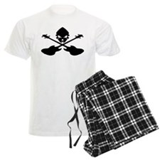 Skull and Bass Guitar Black Pajamas