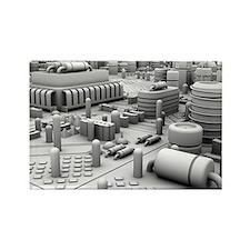 Circuit board, artwork - Rectangle Magnet