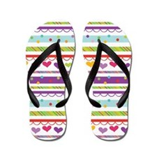 Hearts and Polka Dots Flip Flops