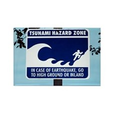 Tsunami warning sign - Rectangle Magnet