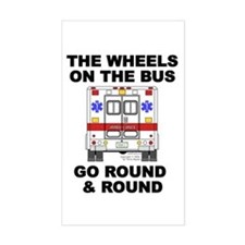 Ambulance Wheels Go Round Rectangle Decal