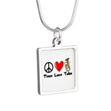 Peace, Love, Tuba Silver Square Necklace