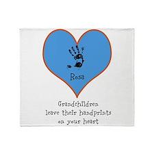 handprints on your heart - 1 grandchild Throw Bla