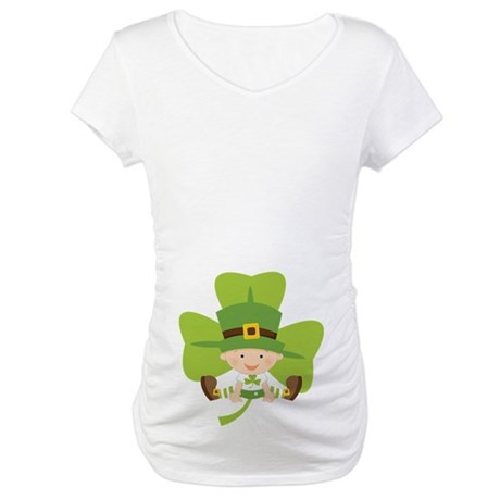 Cute Irish Baby Shamrock Maternity T-Shirt