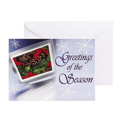 Blue Monitor Holiday Card Greeting Cards