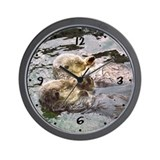 Cute Sea otter love Wall Clock