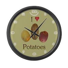 I Love Potatoes! Large Wall Clock