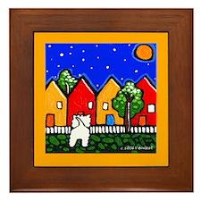 Westie Explores the Neighborhood Framed Tile