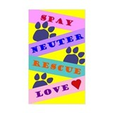 Spay, Neuter, Rescue, Love Rectangle  Aufkleber