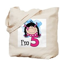 I'm 5 Black Haired Girl Tote Bag