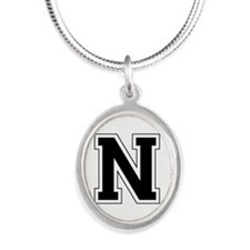 Collegiate Monogram N Silver Oval Necklace