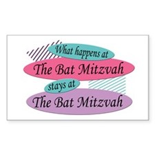 Happens At The Bat Mitzvah Rectangle Decal