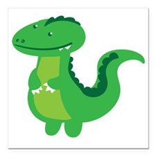 "Happy Dinosaur Square Car Magnet 3"" x 3"""