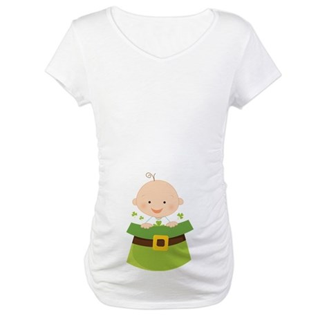 Irish Baby Shamrock Luck Maternity T-Shirt