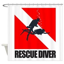 Rescue Diver (blk) Shower Curtain
