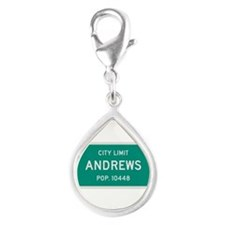 Andrews, Texas City Limits Silver Teardrop Charm