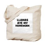 Llamas Ate My Homework Tote Bag
