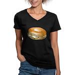 Bagel and Cream Cheese Women's V-Neck Dark T-Shirt