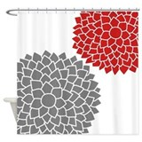 Zen Flowers gray red Shower Curtain