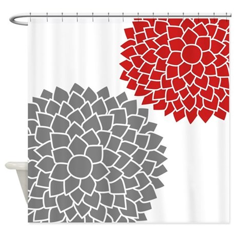 Terry Cloth Shower Curtain Burgundy and Gray Shower