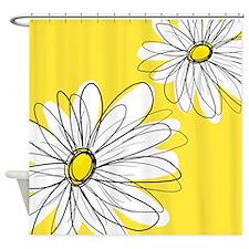 Modern Daisies - ye... Shower Curtain
