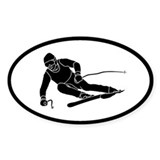 downhill ski skiing oval sticker