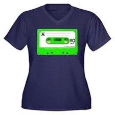 Green Cassette Tape Women's Plus Size V-Neck Dark