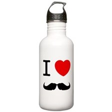 I Heart Mustache Water Bottle