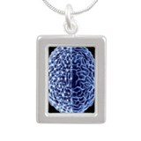 Brain, neural network - Silver Portrait Necklace