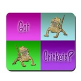 Bearded Dragon Colorblock Got Crickets Mousepad
