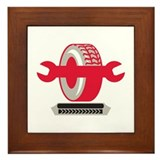 Tire With Spanner Wrench Retro Framed Tile