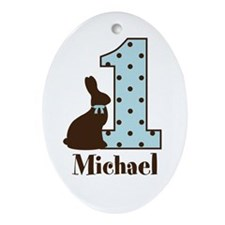 Babys first Easter custom boy Ornament (Oval)