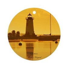 Edgartown Lighthouse, MV Ornament (Round)