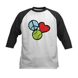Peace, Love, Tennis Baseball Jersey