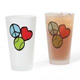 Peace, Love, Tennis Drinking Glass