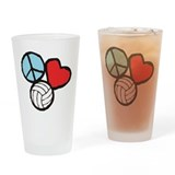 Peace, Love, Volleyball Drinking Glass