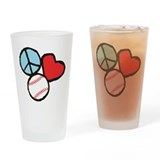Peace, Love, Baseball Drinking Glass