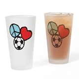 Peace, Love, Soccer Drinking Glass