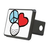 Peace, Love, Golf Rectangular Hitch Cover