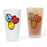 Peace, Love, Softball Drinking Glass