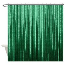 Green Binary Rain Shower Curtain
