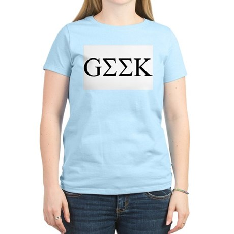Geek in Greek Letters Womens Pink T-Shirt