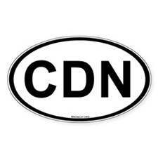 Int'l Country Code Oval Sticker: Canada (CDN) Stic