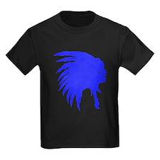 Blue Indian Headdress Outline T-Shirt