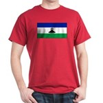 New Lesotho Flag Blank Red T-Shirt