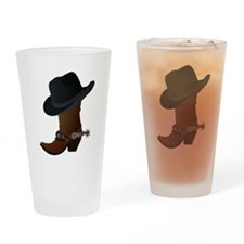 Cowboy Boot And Hat Drinking Glass