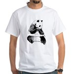 Hand Sketched Panda White T-Shirt