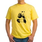 Hand Sketched Panda Yellow T-Shirt