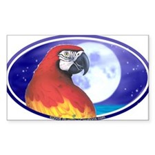 Parrot Moon Tropical Bumper Oval Decal