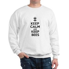Keep Calm and Keep Bees White Sweatshirt